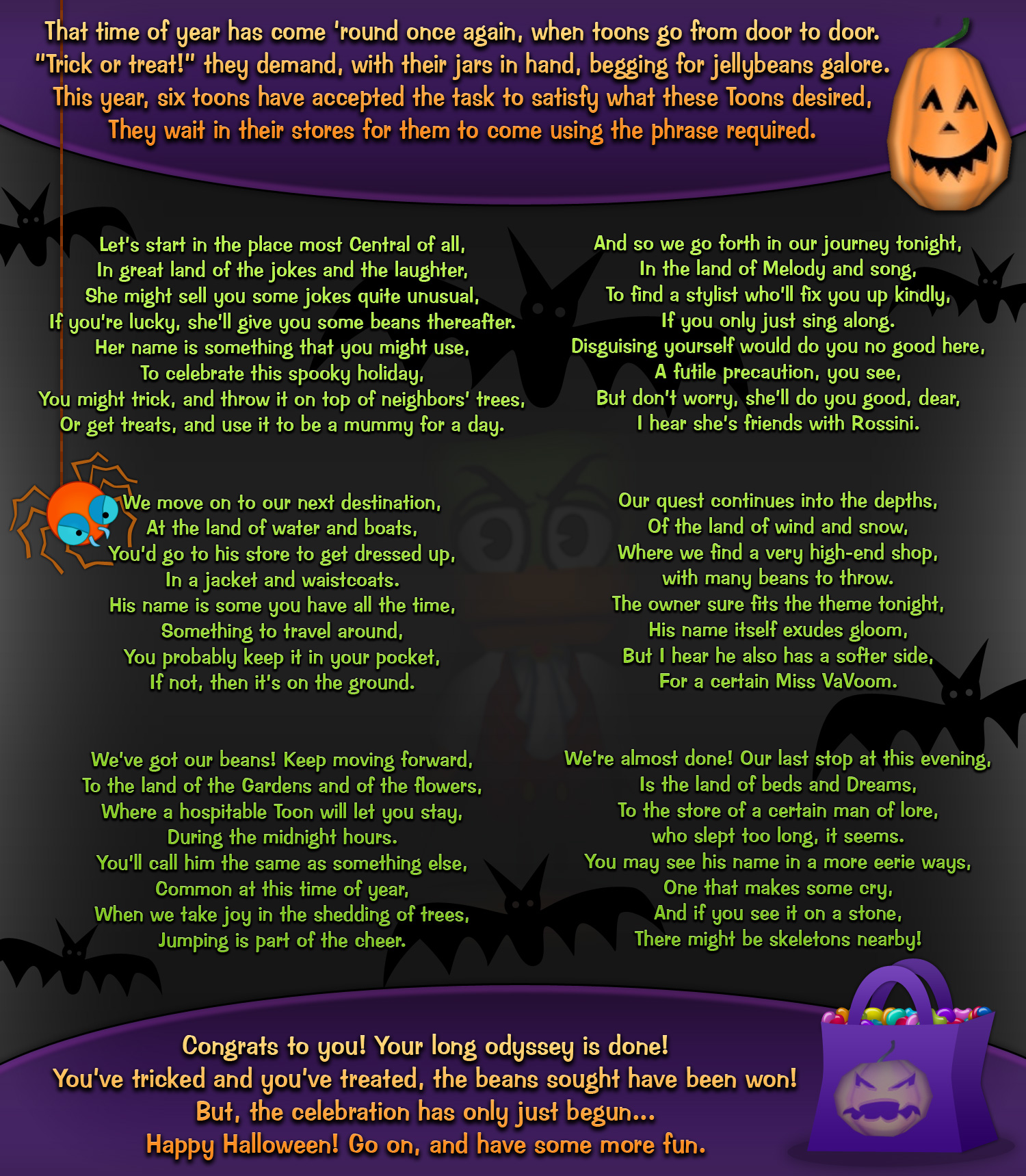 TTR Halloween Trick or treat shops! : Toontown