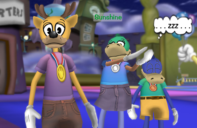 A Deer and two Crocodiles stand proudly with their Laff-o-lympics medals.