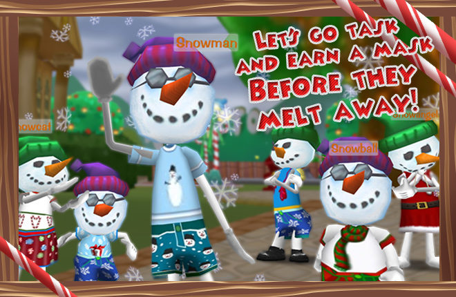Toontown's Snowtoons line up in a snowy Toontown Central to give out Winter Holiday ToonTasks.