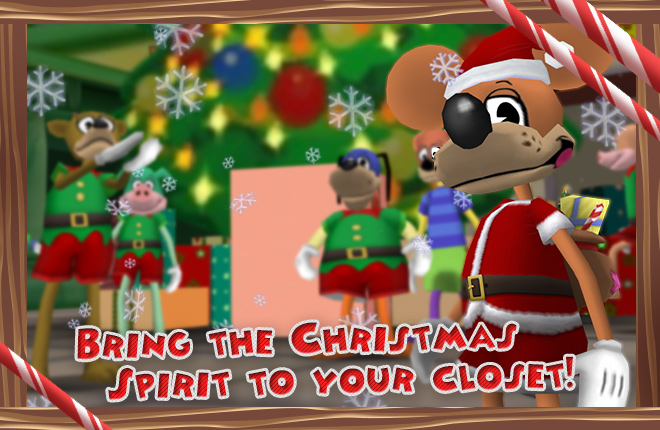 Finn McWickett dressed as Santa with his elves in Toontown Central.