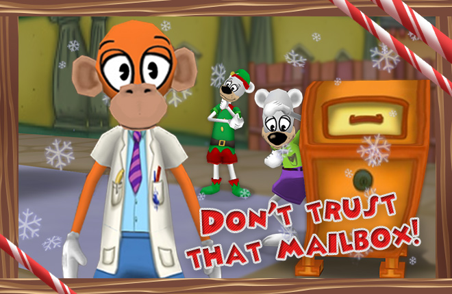 Doctor Surlee stands in Toontorial Street with some Polar Bears on Christmas Eve.