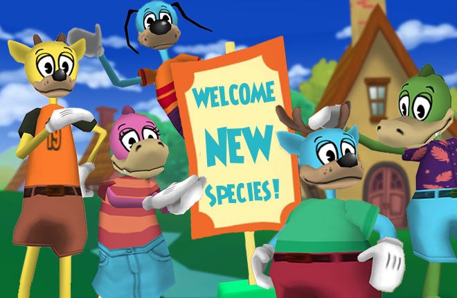 Deer and Crocodile Toons gather around Flippy, who stands behind a sign that reads: 'Welcome New Species!' at an estate.'