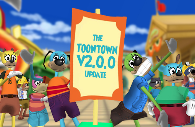 Toons gather around a sign announcing the Toontown v2.0.0 update.