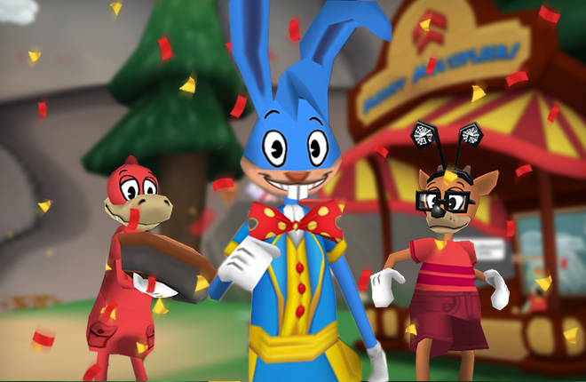 Riggy Marole walking through ToonFest, with a Deer and Crocodile ready for the Laff-o-lympics.