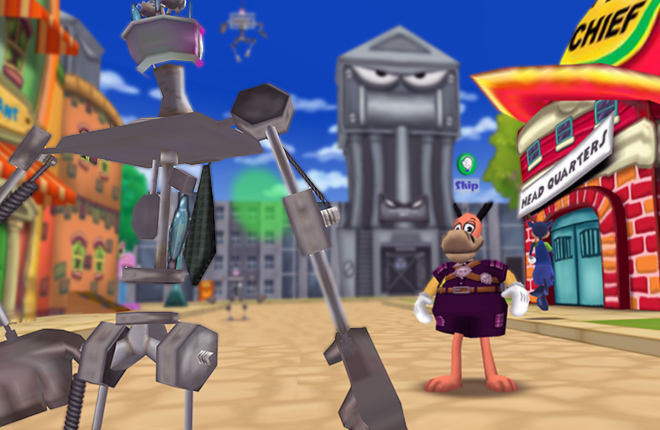 Resistance Ranger Skip fights a Cashbot Skelecog across from Toon HQ.