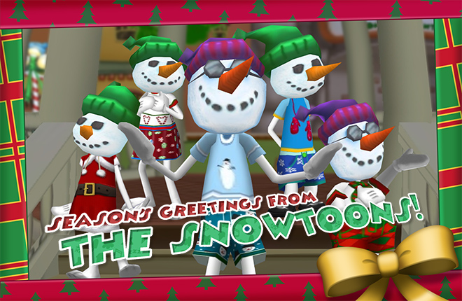 Snowman, Snowball, Snowangel, Snowshoe, Snowcat, and Snowflake standing merrily in Toontown Central. Season's Greetings from the Snowtoons!