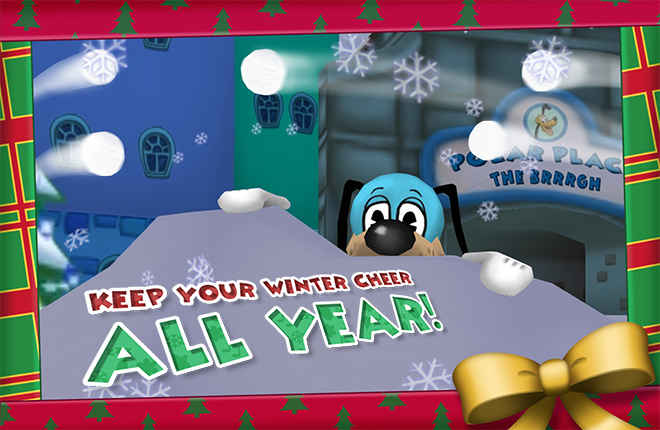 Flippy has awoken from deep slumber to say 'Keep your winter cheer all year!'