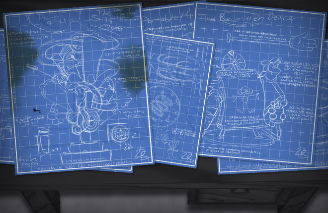 Blueprints scattered on Samantha Spade's desk. The Silly Meter and The Rewritten Device are visible.