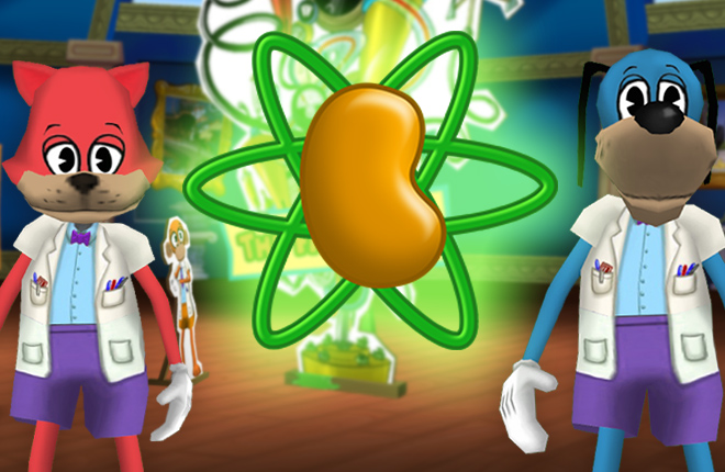 A glowing Silly Particle sits between Doctor Fissionton and Doctor Fissionton.