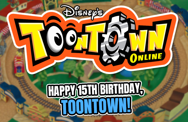 The Toontown Online logo - Happy 15th Birthday, Toontown!