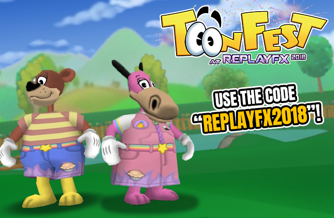 Two Toons showing off the new ReplayFX 2018 clothing item codes.