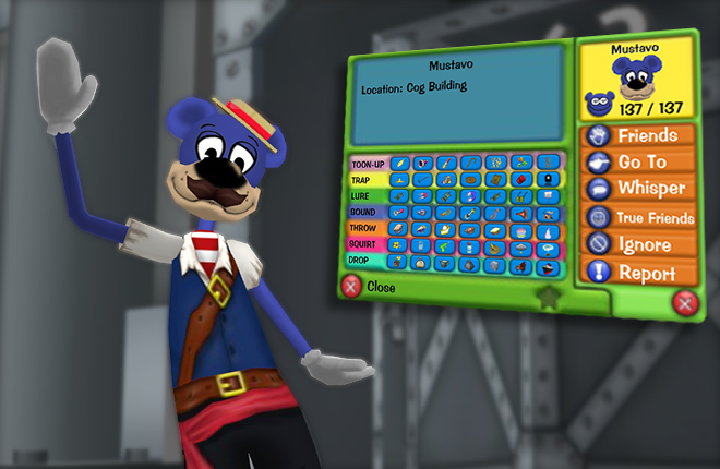 Mustavo showing off new updates to Toon T.A.G.S. in a Cog Building.