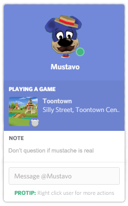 Mustavo Playing Toontown on Discord