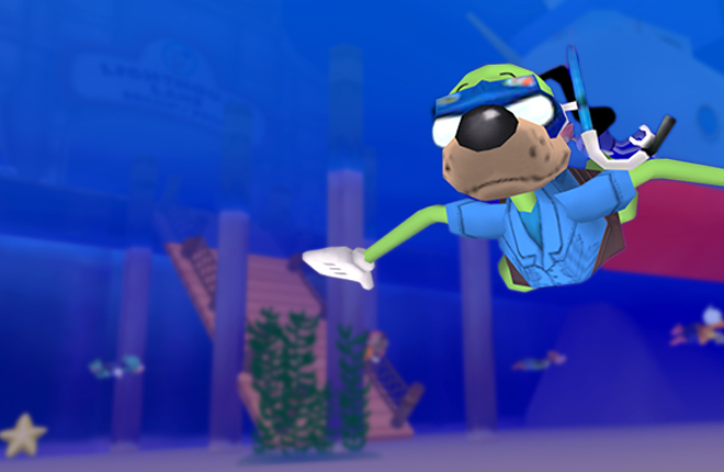 Sir Max scuba diving in Donald's Dock