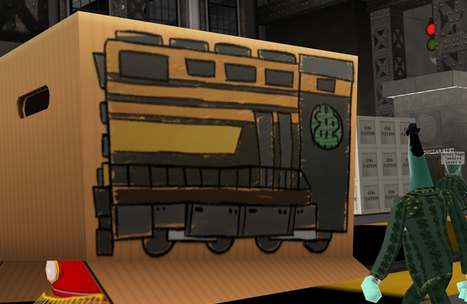 A Downsizer approaches a disguised Trolley box during Operation: Crash Cashbot Headquarters.