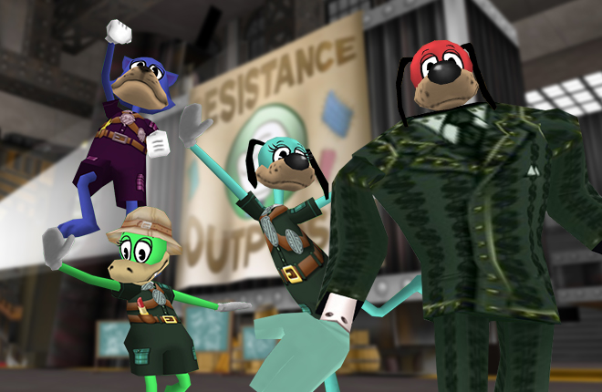 Resistance Rangers Rocky, Cassie Peppercakes, Bulletin Belle, and Lord Lowden Clear wrap up Operation: Crash Cashbot Headquarters.
