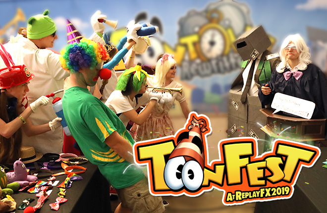 Players are dressed in Toontown Costumes from ToonFest at ReplayFX 2018.