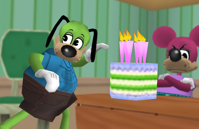Sir Max uses Toontown's Birthday as an excuse to eat lots of cake!