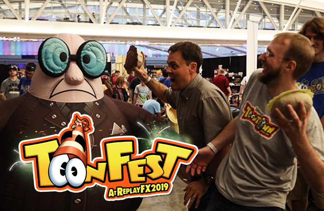 A Toontown Flunky is attacked by Jesse Schell and Shawn Patton at ToonFest at ReplayFX 2018 in the David L. Lawrence Convention Center.
