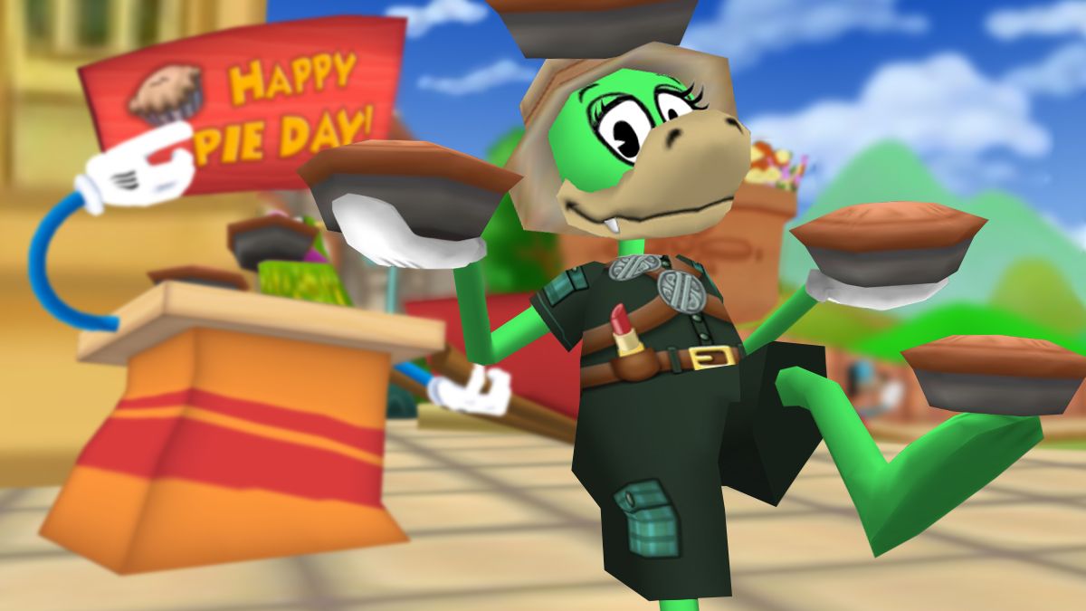Image: Cassie Peppercakes juggles pies to wish you a Happy Pie Day!