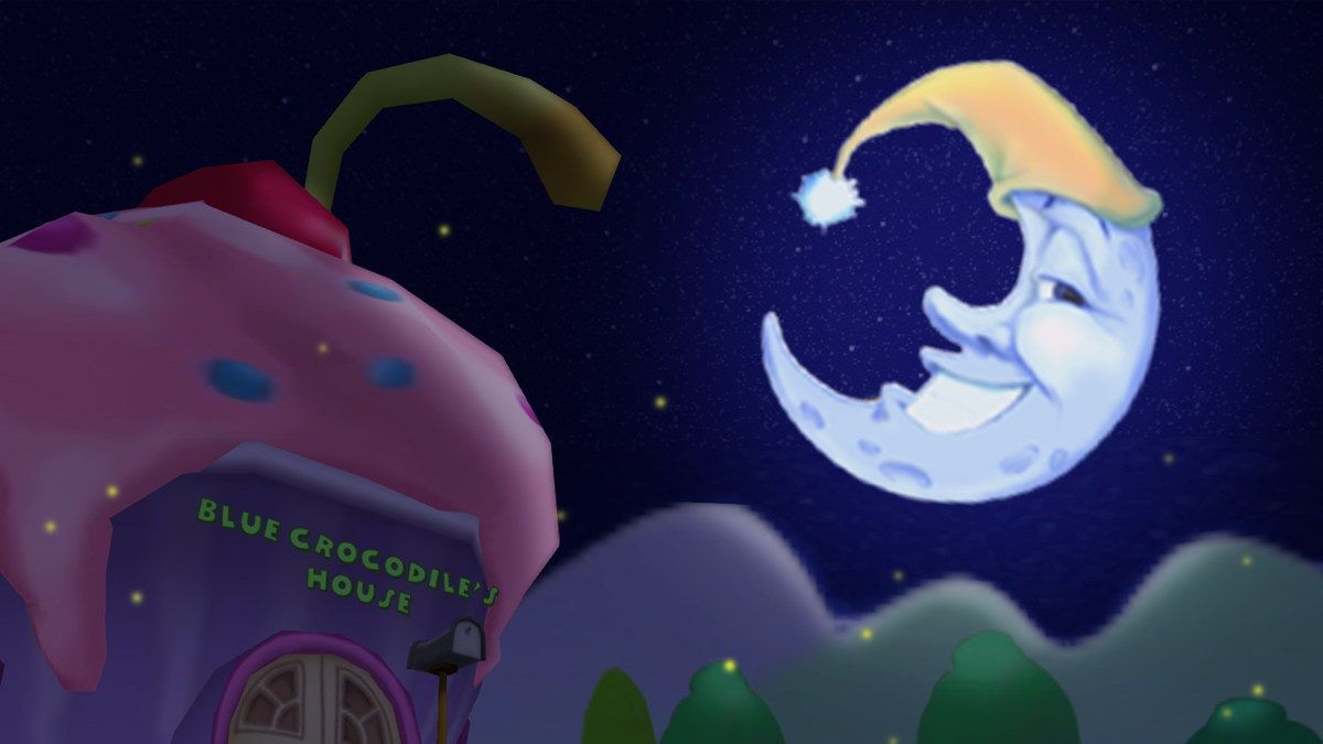 Image: The Moon looks over a Toon Estate with a cupcake themed house.