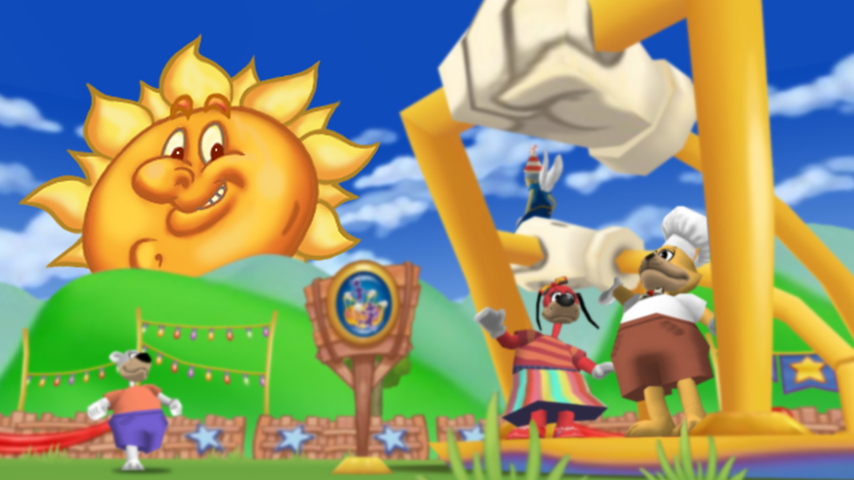 Image: The Sun watches over a Toon Party, with the Toons jumping around a brand-new Merry-go-Round.