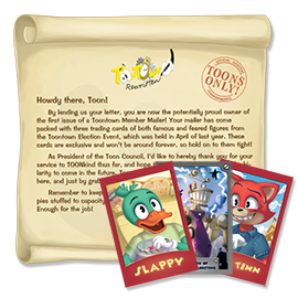 Slappy, Director of Ambush Marketing, and Alec Tinn Trading Cards with a Toon Council certificate from the 2015 Toontown Member Mailer.