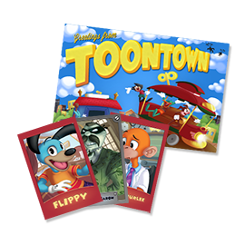 Fluffy, Goon, and Schtickerbook Trading Cards with a mini poster from the 2017 Toontown Member Mailer.